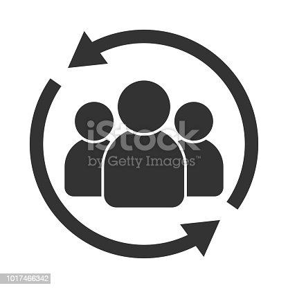 istock Customer interaction icon. Client returning or renention symbol 1017466342
