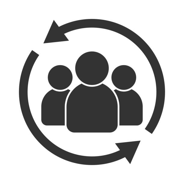 Customer interaction icon. Client returning or renention symbol Customer interaction icon. Client returning or renention symbol practicing stock illustrations