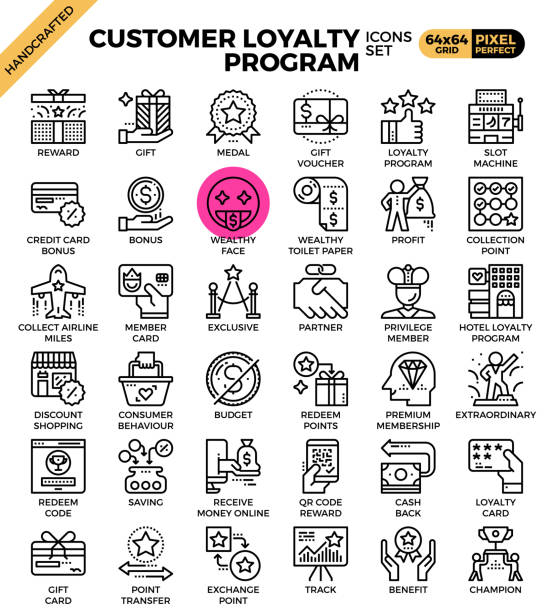 illustrazioni stock, clip art, cartoni animati e icone di tendenza di customer loyalty concept icons - bonus