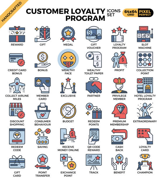 Customer loyalty concept icons vector art illustration
