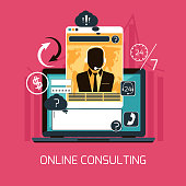 Concept of 24 7 customer online consulting or support service male operator in headset flat design