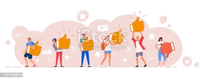 istock Customer online review rating and feedback set 1257450674