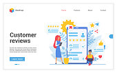 Customer people review vector illustration. Cartoon flat client character leaving rating stars, online custom feedback about good or bad experience. Reviewing social media, interface website design