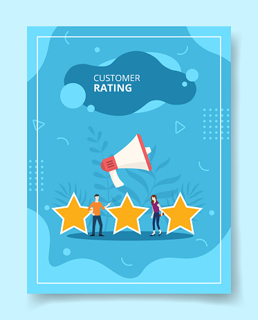 customer rating people standing among star shape for template of banners, flyer, books cover, magazines with liquid shape style
