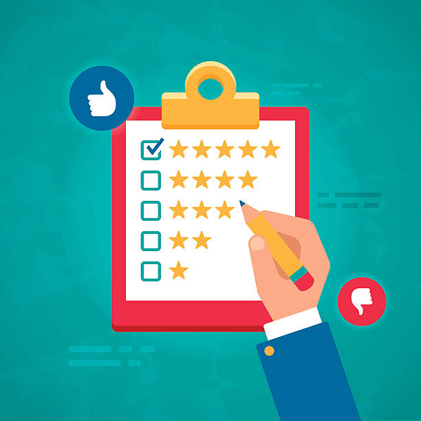 customer ratings and survey reviews - evaluation stock illustrations