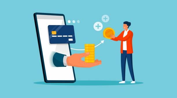Customer receiving cash back money vector art illustration