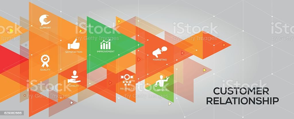 Customer Relationship banner and icons vector art illustration