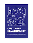 Customer Relationship Concept Line Style Cover Design for Annual Report, Flyer, Brochure.