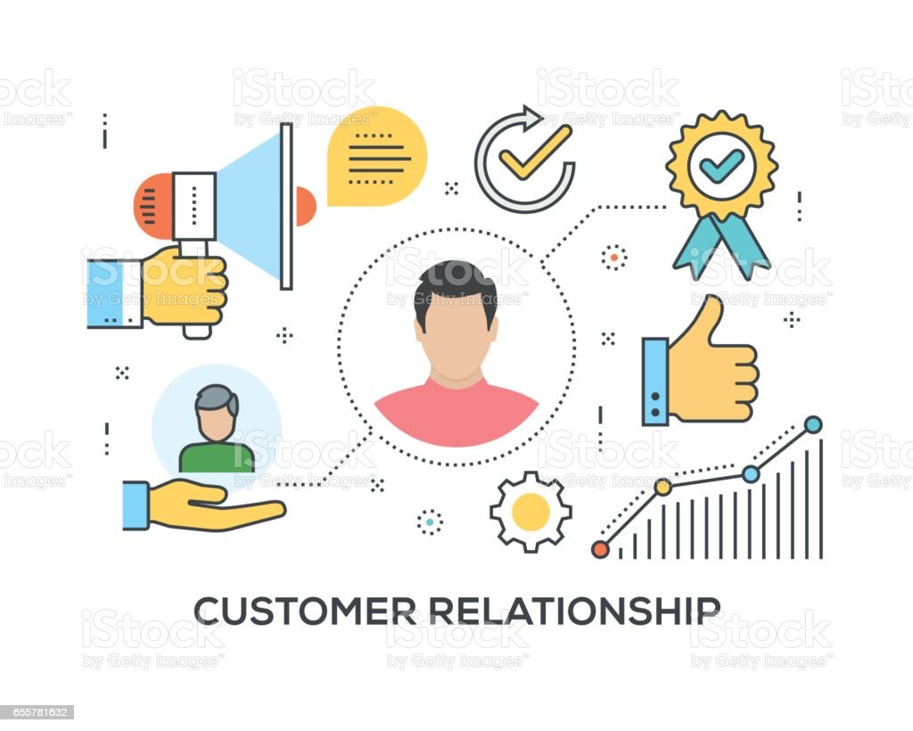 Customer Relationship Concept with icons vector art illustration