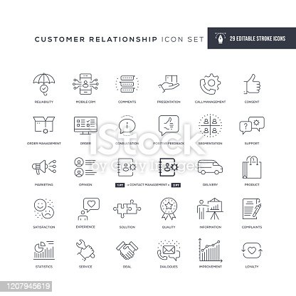 29 Customer Relationship Icons - Editable Stroke - Easy to edit and customize - You can easily customize the stroke with