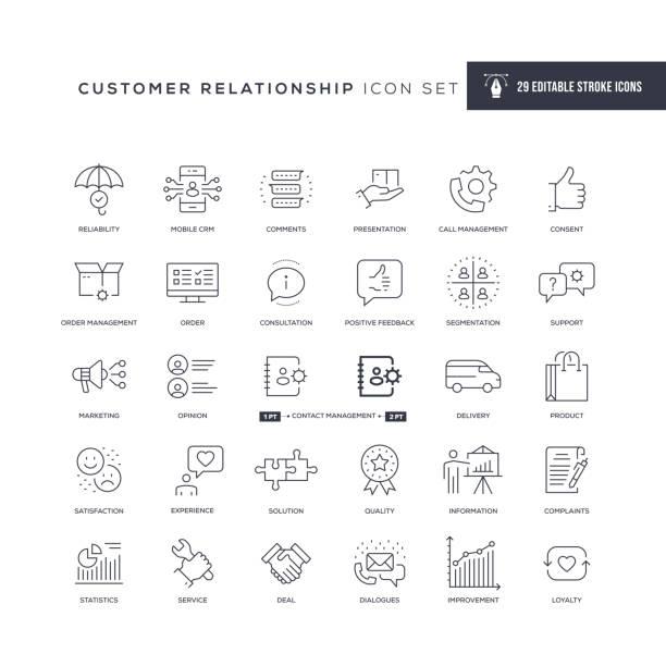 müşteri i̇lişkisi düzenlenebilir kontur hattı simgeleri - experience stock illustrations