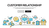 Customer Relationship Flat Line Web Banner Design