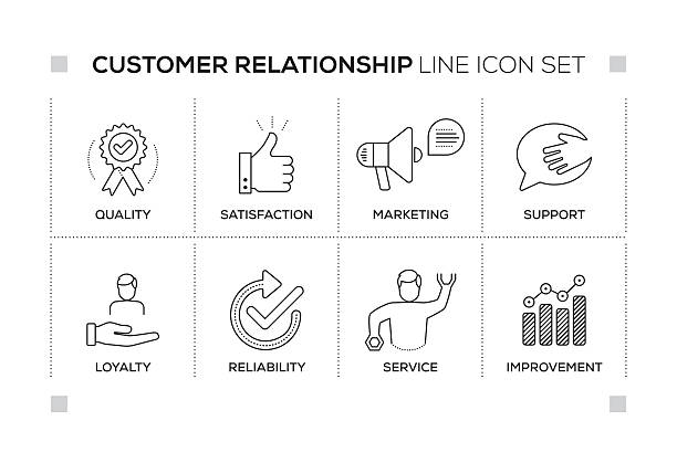 Customer Relationship keywords with monochrome line icons ベクターアートイラスト