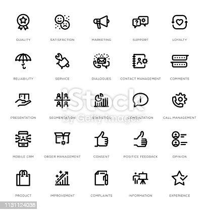 Customer Relationship Line Icon Set
