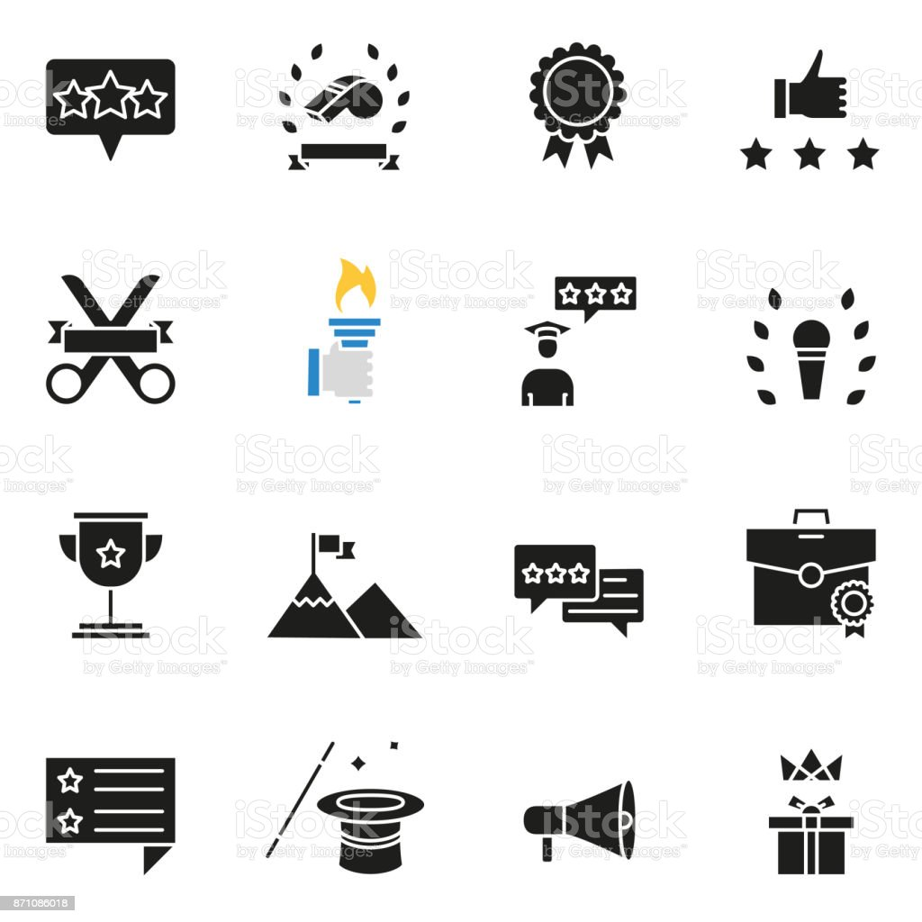 Customer relationship management, feedback, review and assessment icons vector art illustration