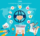 CRM : Customer relationship management. Flat icons of accounting system, clients, support, deal.