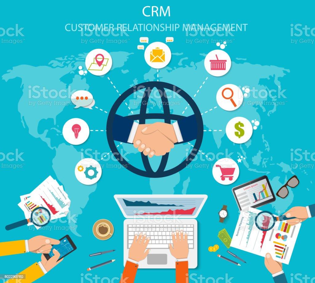 CRM: Gestion de relation client. Icônes plats du système de comptabilité, clients, soutien, deal. - Illustration vectorielle