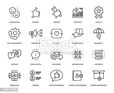Customer Relationship Management Icon Set - Thin Line Series