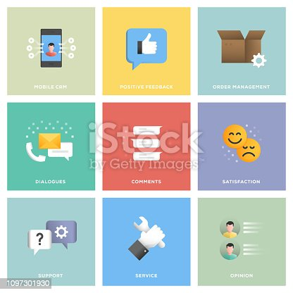 Customer Relationship Management Icon Set Flat Design