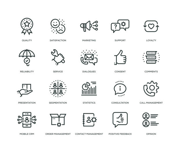 customer relationship management icons - line series - expert stock illustrations