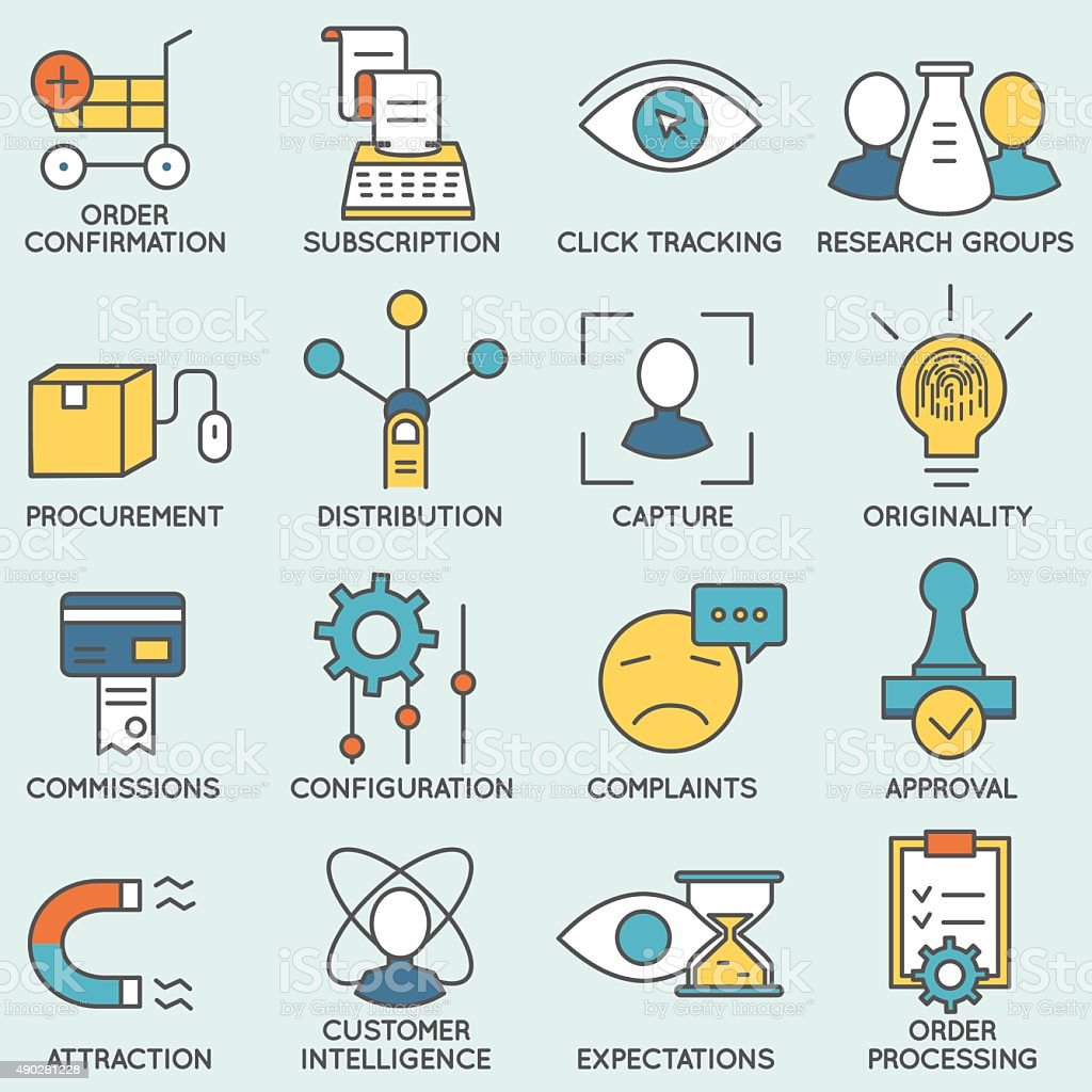 Customer relationship management icons - part 8 vector art illustration