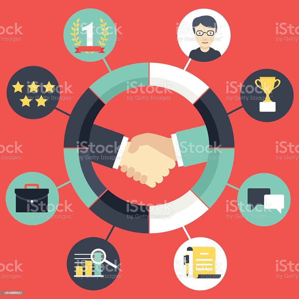 Customer Relationship Management vector art illustration