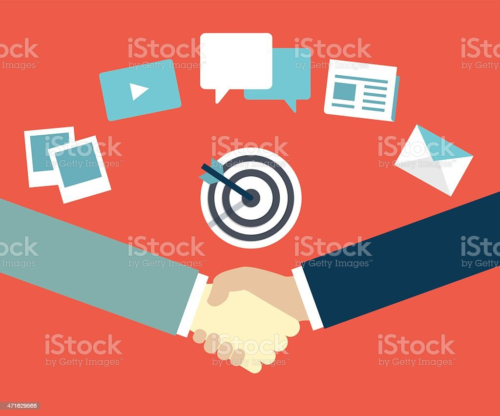 Customer Relationship Management.Content marketing as mean of interaction vector art illustration