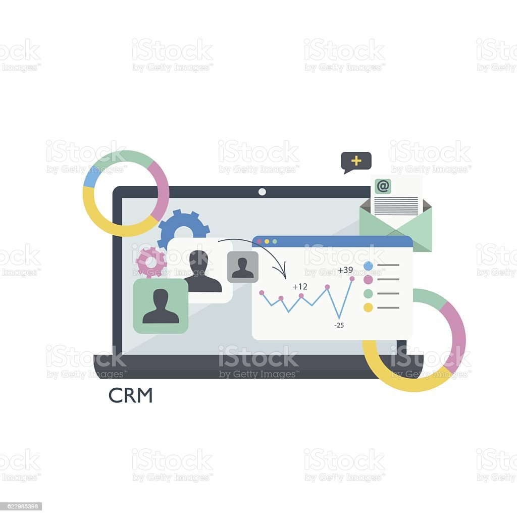 CRM. Customer relationship management.Laptop, tables and graphs – Vektorgrafik