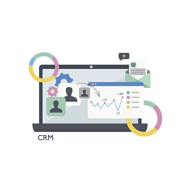 CRM. Customer relationship management.Laptop, tables and graphs Customer relationship management.Laptop, tables and graphs bonding stock illustrations