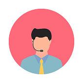 Customer Representative Avatar Flat Icon. Flat Vector Illustration Symbol Design Element