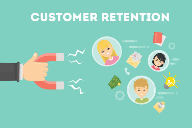 Customer retention concept. Customer retention concept. Hand with magnet tries to appeal clients. memories stock illustrations