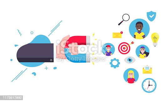 istock Customer retention concept with hand holding magent, social media elements attract to magnet flat style design vector illustration isolated on white background. Social customer support loyal service 1173512892