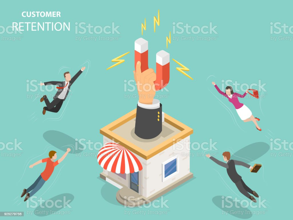 Customer retention flat isometric vector concept. vector art illustration