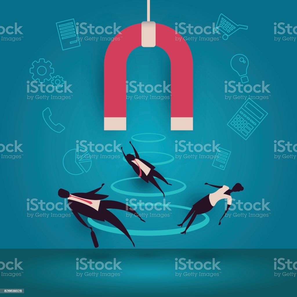 Customer retention or loyalty isometric vector concept illustration. Client care or satisfaction metaphor. Magnet attract potetential buyers. Business marketing idea. vector art illustration
