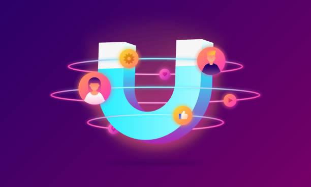 illustrazioni stock, clip art, cartoni animati e icone di tendenza di concetto di strategie di fidelizzazione dei clienti, marketing digitale in entrata, illustrazione vettoriale piatta dell'attrazione del cliente con effetti al neon e al movimento per il web e la stampa. - fedeltà