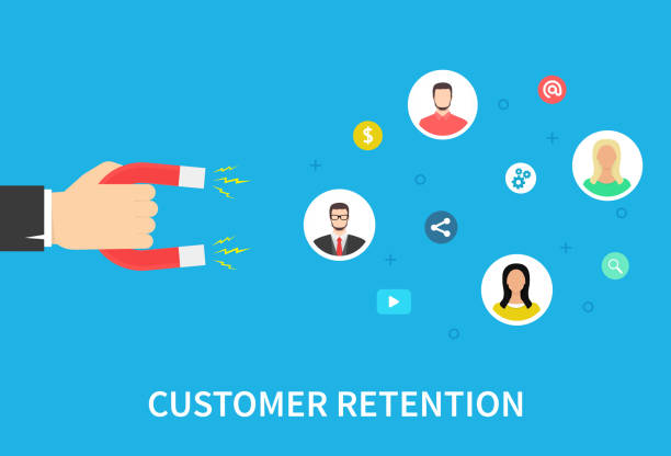 Customer retention strategy, attract customers, customer support and service, digital marketing, flat vector banner infographics with icons. Vector illustration. Customer retention strategy, attract customers, customer support and service, digital marketing, flat vector banner infographics with icons. Vector illustration memories stock illustrations