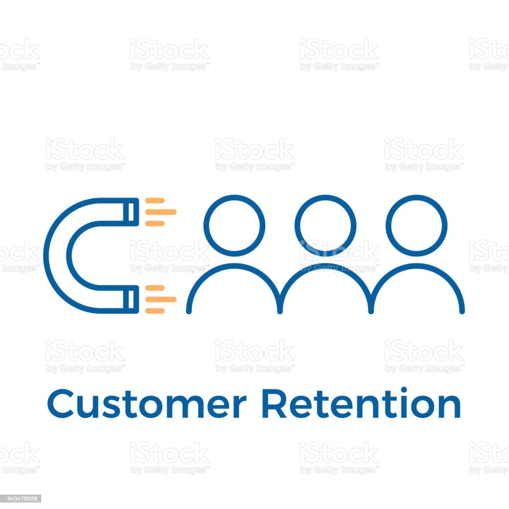 Customer retention with magnet and people design. Vector icon illustration. Digital inbound marketing.