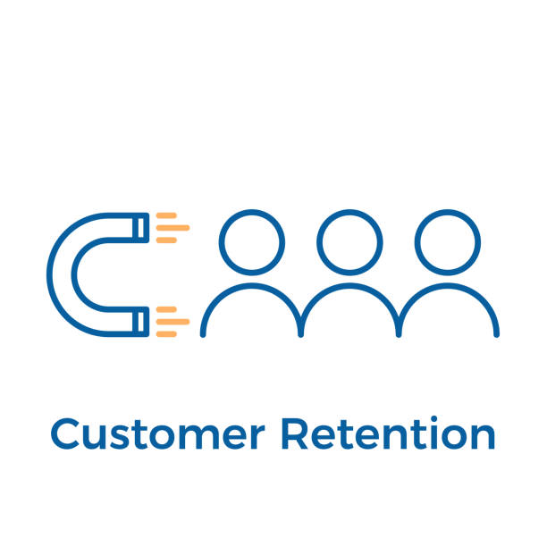 Customer retention with magnet and people design. Vector icon illustration. Digital inbound marketing. vector eps10 love at first sight stock illustrations