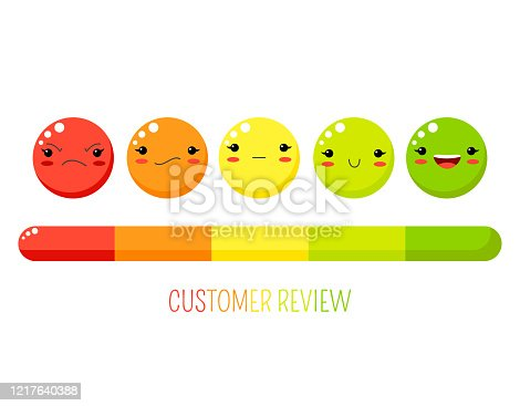Rating experience concept. Customer service evaluation form with emotion smiles and rating scale. Customer review feedback of quality and service. Vector emoji symbols and ranking bar for user vote