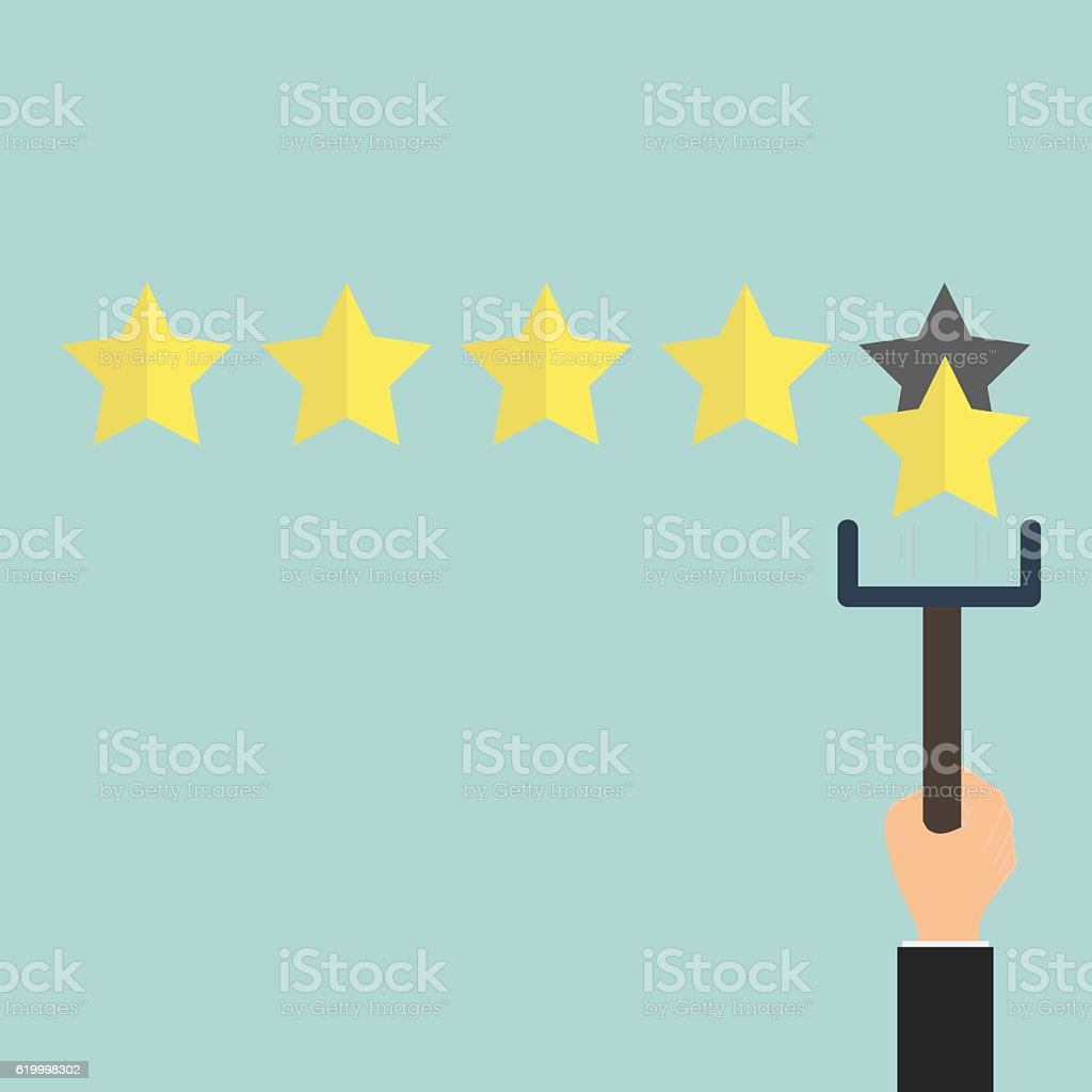 Customer review give a five star in bubble box. Positive feedback...