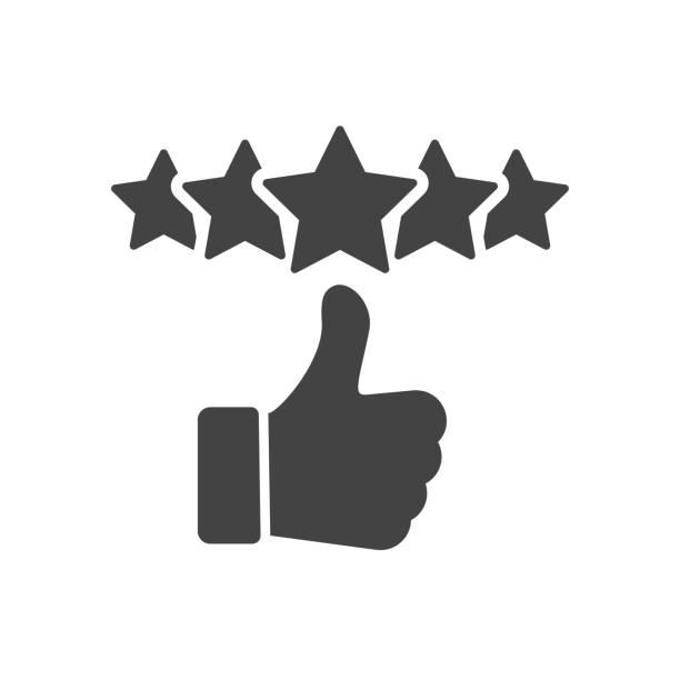 kundenbewertungssymbol, qualitätsbewertung, feedback, fünf-sterne-liniensymbol auf weißem hintergrund - editierbare strichvektor-illustration eps10 - feedback stock-grafiken, -clipart, -cartoons und -symbole