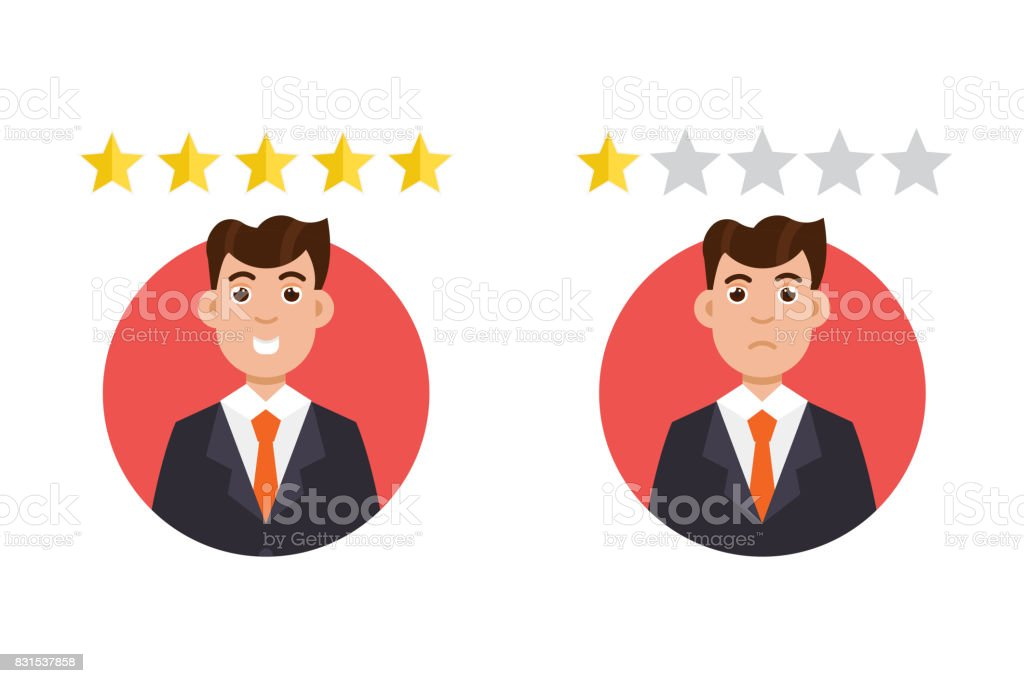 Customer review. Positive and negative feedback concept. Vector illustration vector art illustration
