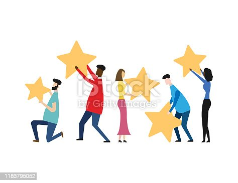 Customer review rating concept isolated on white background. Vector illustration. Eps 10.