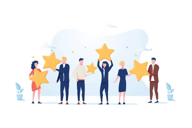 客戶審查評級。不同的人給評論評級和回饋。平面向量例證。 - 成功 幅插畫檔、美工圖案、卡通及圖標