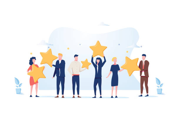 customer review rating. different people give review rating and feedback. flat vector illustration. - obsługa stock illustrations