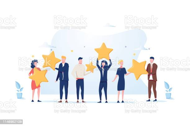 Customer Review Rating Different People Give Review Rating And Feedback Flat Vector Illustration — стоковая векторная графика и другие изображения на тему Анкета