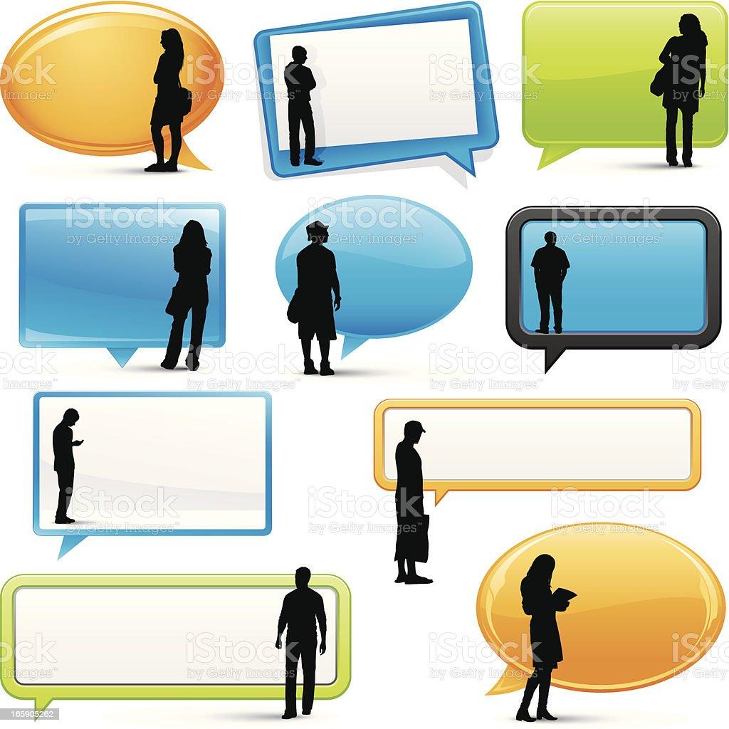 Customer review speech bubbles vector art illustration
