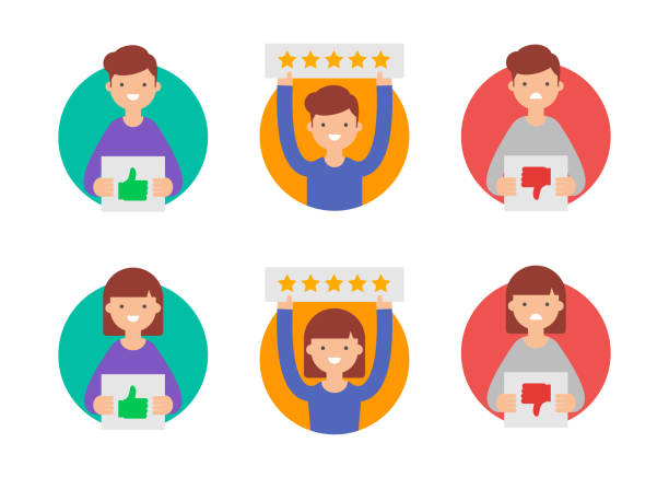 customer reviews, flat rating vector icons - cheerful stock illustrations