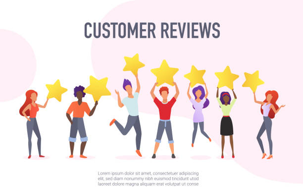 Customer reviews flat vector banner template. Happy users holding golden stars cartoon characters. Customers evaluating performance, services. Consumers positive feedback poster with text space. vector art illustration