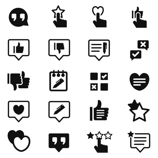 Customer reviews icon set Customer reviews icon set , vector illustration survey icon stock illustrations